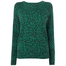 Buy Jaeger Cheetah Print Jumper, Green Online at johnlewis.com