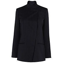Buy Jaeger Pinstripe Asymmetric Jacket, Black Online at johnlewis.com