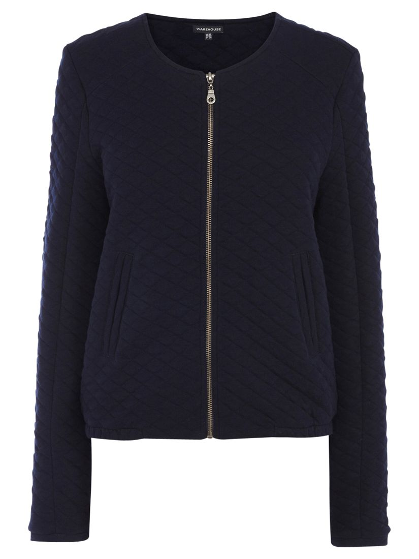 Warehouse Quilted Bomber Jacket, Navy