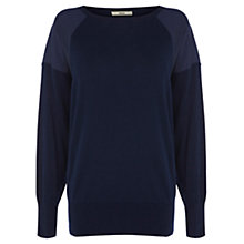 Buy Oasis Mixed Fabric Sweater, Navy Online at johnlewis.com