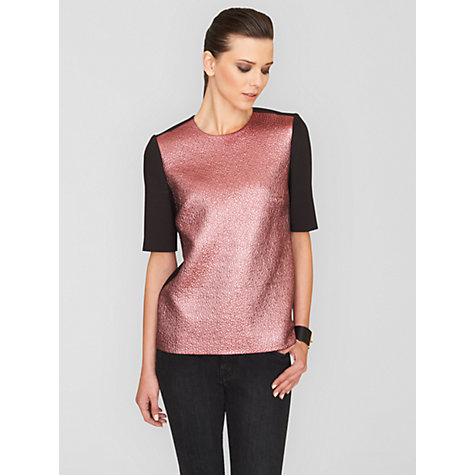 Buy Jaeger Metallic T-Shirt, Dark Pink / Black Online at johnlewis.com