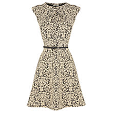 Buy Oasis Stretch Jacquard Skater Dress, Black/White Online at johnlewis.com