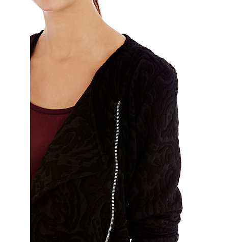 Buy Warehouse Jacquard Biker Jacket, Black Online at johnlewis.com