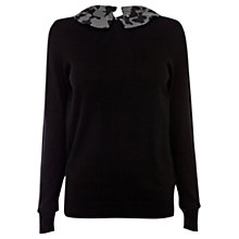 Buy Oasis Butterfly Collar Top, Black Online at johnlewis.com