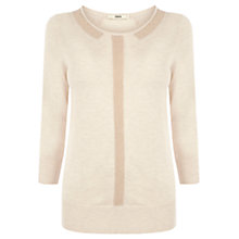 Buy Oasis Sparkle Collar Top, Light Neutral Online at johnlewis.com