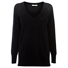 Buy Oasis V-Neck Sparkle Jumper, Black Online at johnlewis.com