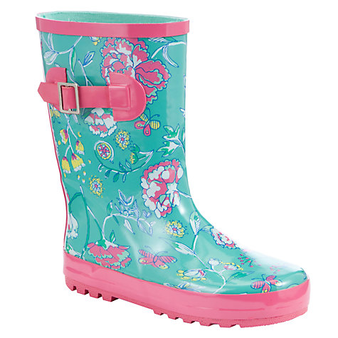 Buy John Lewis Girl Floral Wellington Boots, Green Online at johnlewis.com