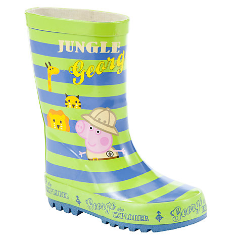 Buy George Pig Jungle Wellies, Green/Blue Online at johnlewis.com