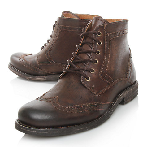 Buy KG by Kurt Geiger Kerland Brogue Leather Lace Up Boots, Brown Online at johnlewis.com