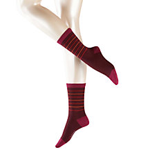 Buy Falke Cosy Stripe Ankle Socks, Plum Online at johnlewis.com