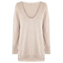 Buy Oasis Sparkle V-Neck Jumper, Neutrals Online at johnlewis.com