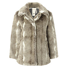 Buy White Stuff Monroe Faux Fur Jacket, Ice Grey Online at johnlewis.com