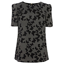 Buy Oasis Crepe Butterfly Print Top, Black/White Online at johnlewis.com