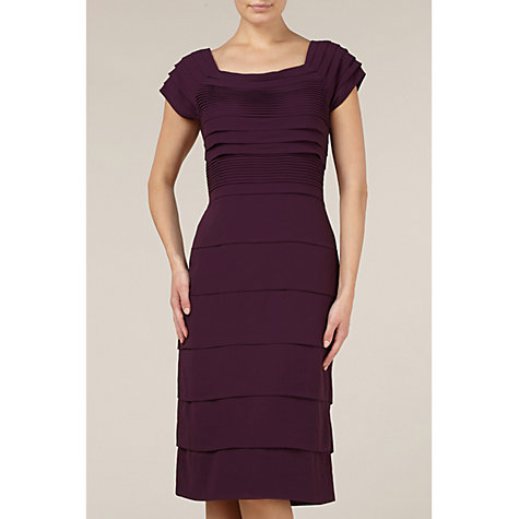 Buy Jacques Vert Chiffon Layered Dress, Purple Online at johnlewis.com
