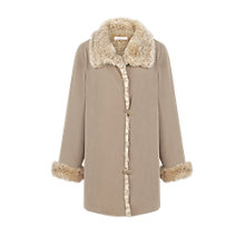 Buy Jacques Vert Palomi Faux Fur Mac, Neutral Online at johnlewis.com