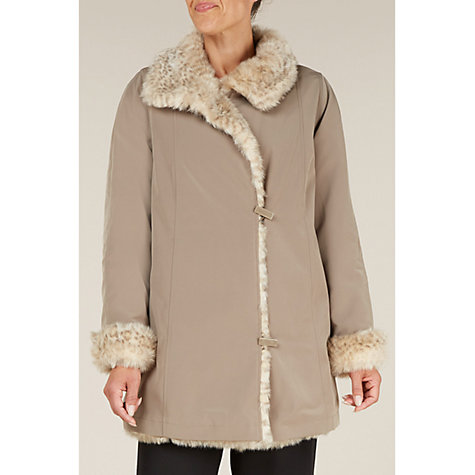 Buy Jacques Vert Palomi Faux Fur Mac, Taupe Online at johnlewis.com