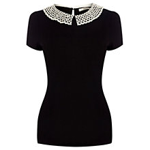 Buy Oasis Crochet Collar T-shirt, Black Online at johnlewis.com