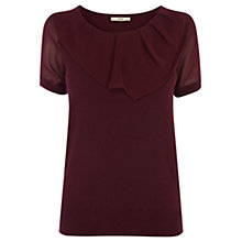 Buy Oasis Woven Short Sleeve Top, Burgundy Online at johnlewis.com