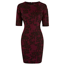 Buy Warehouse Oriental Jacquard Dress, Plum Online at johnlewis.com