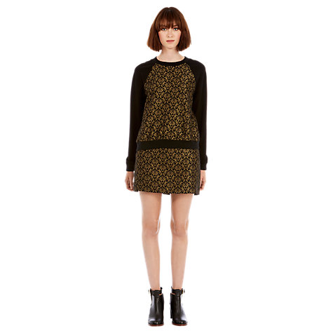 Buy Warehouse Jacquard Skirt, Black / Gold Online at johnlewis.com