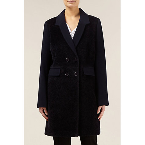 Buy Planet Contrast Mohair Coat, Navy Online at johnlewis.com