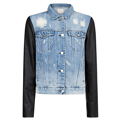 Buy Mango Denim Faux Leather Sleeve Jacket, Navy Online at johnlewis.com