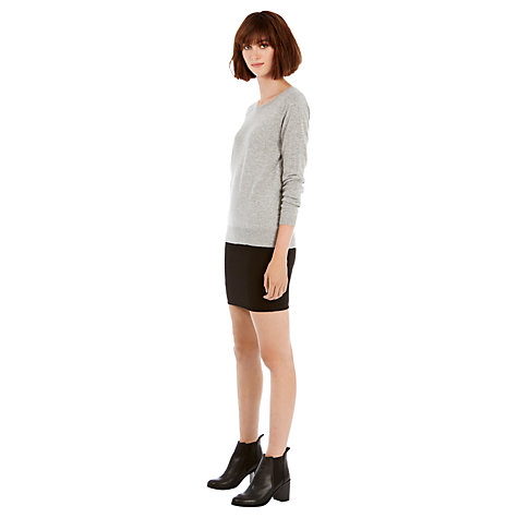 Buy Warehouse Zip Back Textured Mini Skirt, Black Online at johnlewis.com