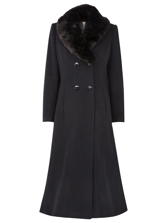 Jacques Vert Long Faux Fur Collar Coat, Black