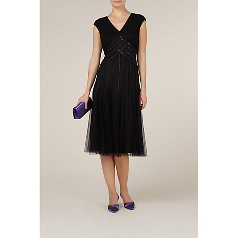 Buy Jacques Vert Fit and Flare Sequin Dress, Black Online at johnlewis.com