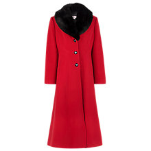 Buy Jacques Vert Long Faux Fur Collar Coat, Red Online at johnlewis.com