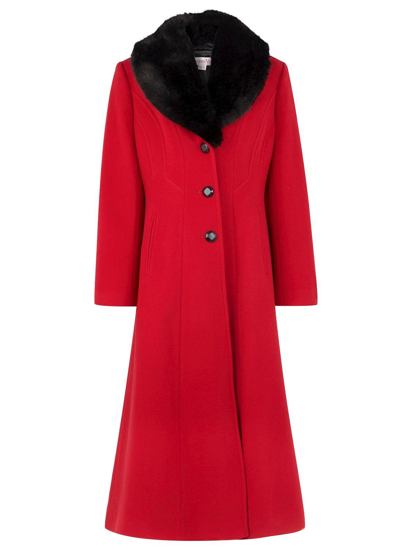 Jacques Vert Long Faux Fur Collar Coat, Red