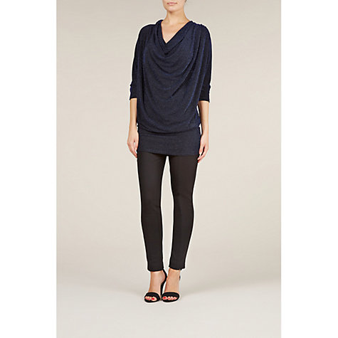 Buy Planet Cowl Neck Sparkle Top, Navy Online at johnlewis.com