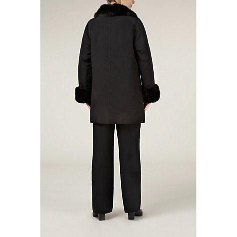 Buy Jacques Vert Faux Fur Trim Mac, Black Online at johnlewis.com