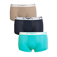 Buy Emporio Armani Stretch Cotton Trunks, Pack of 3, Multi Online at johnlewis.com