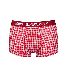 Buy Emporio Armani Stretch Cotton Check Trunks, Red Online at johnlewis.com