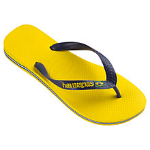Buy Havaianas Brasil Logo Flip Flops, Yellow/Blue Online at johnlewis.com