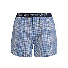 Buy Emporio Armani Stretch Cotton Gingham Boxers, Navy Online at johnlewis.com