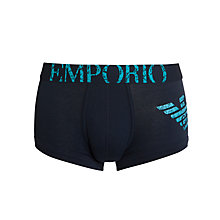 Buy Emporio Armani Stretch Cotton Eagle Trunks, Navy Online at johnlewis.com