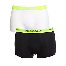 Buy Emporio Armani Stretch Cotton Trunks, Pack of 2, Yellow Online at johnlewis.com