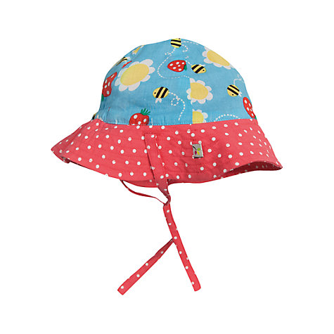 Buy Frugi Baby Reversible Bee Print Hat, Blue/Red Online at johnlewis.com