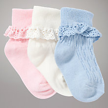 Buy John Lewis Crochet Detail Socks, Pack of 3, Multi Online at johnlewis.com