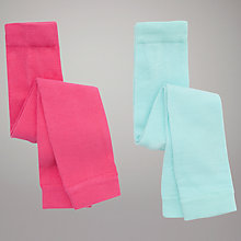 Buy John Lewis Baby Footless Tights, Pack of 2, Pink/Turquoise Online at johnlewis.com