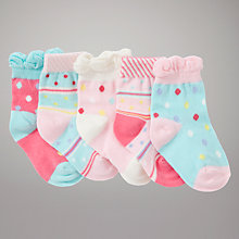 Buy John Lewis Spots and Stripes Socks, Pack of 5, Multi Online at johnlewis.com