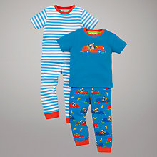 Buy John Lewis Monkey & Stripe Pyjamas, Pack of 2, Blue Online at johnlewis.com