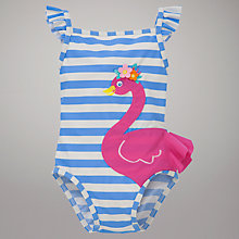 Buy John Lewis Flamingo Motif Stripe Swimsuit, Blue/Pink Online at johnlewis.com