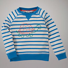 Buy John Lewis Stripe Tortoise Motif Jumper, Blue Online at johnlewis.com