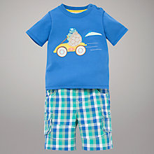 Buy John Lewis Tortoise T-Shirt & Check Shorts, Blue/Green Online at johnlewis.com