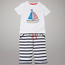 Buy John Lewis Boat T-Shirt & Bottoms Set, White/Navy Online at johnlewis.com