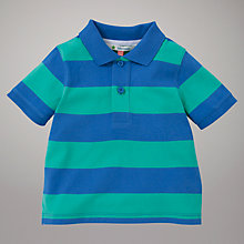 Buy John Lewis Stripe Pique Polo Shirt, Blue/Green Online at johnlewis.com