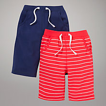 Buy John Lewis Bermuda Jersey Shorts, Pack of 2, Navy/Red Online at johnlewis.com